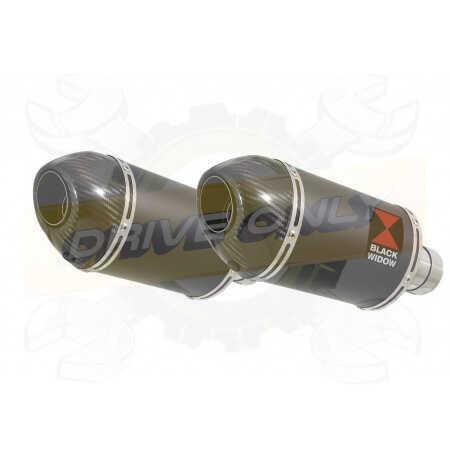 VFR 800 VTEC (RC46) 2002-2013 Tube de raccord& SilencieuxOvale Noir Inox+ Carbone 200mm