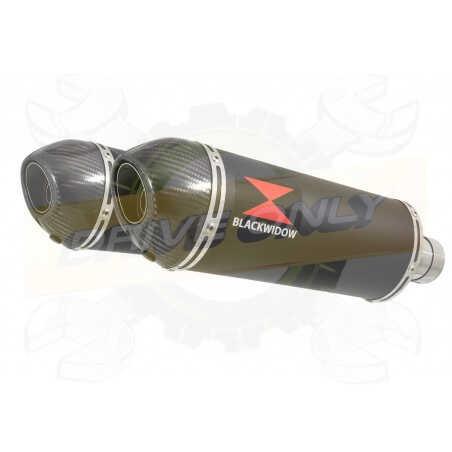 VFR 800 VTEC (RC46) 2002-2011 Tube de raccord &SilencieuxOvale Noir Inox+ Carbone 300mm
