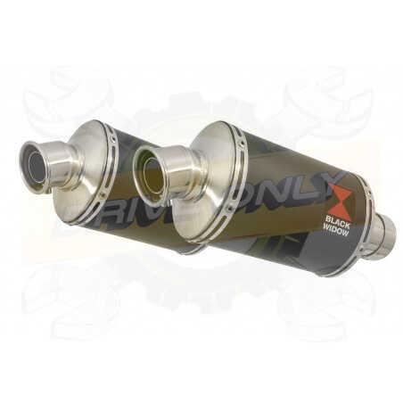 VFR 800 VTEC (RC46) 2002 - 2013 Tube de raccord+ SilencieuxOvale Noir Inox230mm