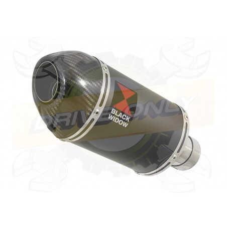 VFR800F VFR 800 2014-2017 (RC79) Exhaust tube de raccord et Ovale Black Steel Silencieux + En Carbone Tip 200mm