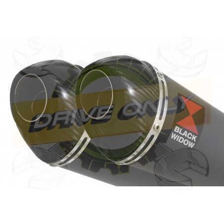 XT660Z TENERE 2008-2017 Exhaust tube de raccords & Ovale Black Stainless Silencieuxs + Carbon Tip 200mm