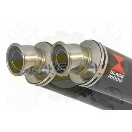 XT660Z TENERE 2008-2017Tube de raccord& SilencieuxRond Noir en Inox350mm