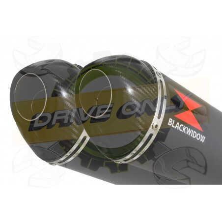 XT660Z TENERE 2008-2017 Tube de raccord& SilencieuxOvale Noir en Inox+ Canule enCarbone300mm