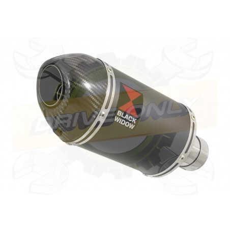 R6 YZF600 2017-2018 (RJ27) Hi level Silencieux kit + Silencieux Ovale Noir en Inox& Canule enCarbone200mm