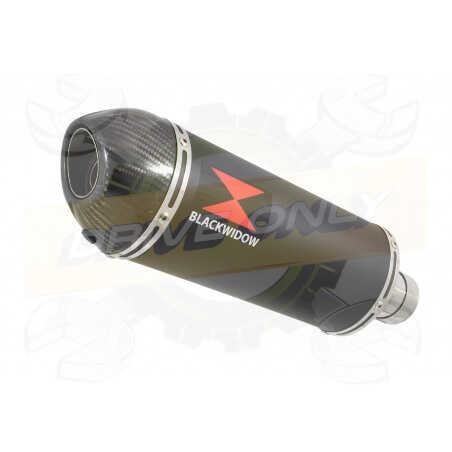 R6 YZF600 2017-2018 (RJ27) Silencieux kit + Silencieux Ovale Noir en Inox+ Canule enCarbone300mm