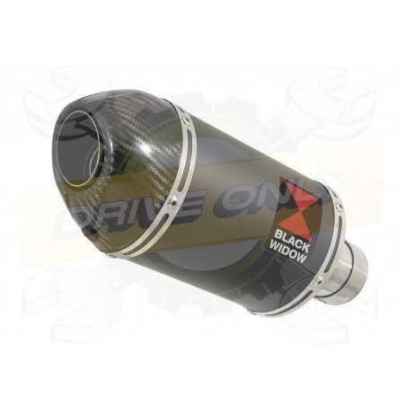 R6 YZF600 2017-2018 (RJ27) Silencieux kit + Silencieux Ovale Noir en Inox+ Canule enCarbone200mm