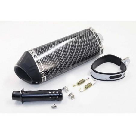 Silencieux sport carbone universel 38mm + accessoires